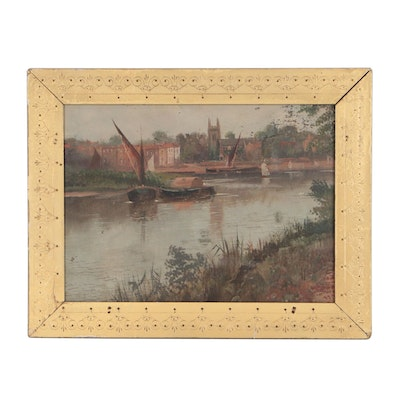 Early 20th Century Oil Painting of River Town