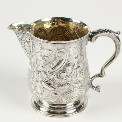 William & James Priest of London Sterling Creamer with Gold Wash Interior, 1764