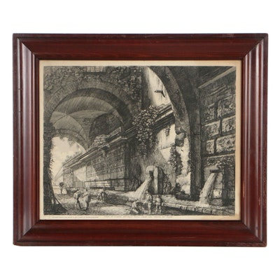 Late 19th Century Etching After Luigi Rossini Roman Aqueducts and Fountains