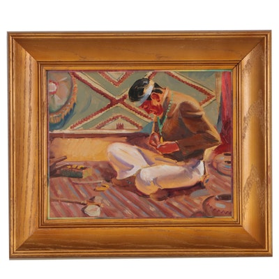 Native American Genre Scene Oil Painting