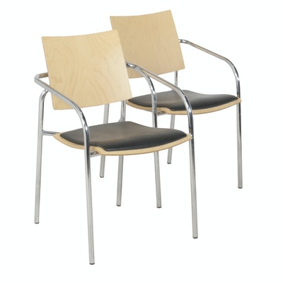 Sandler Seating Wood and Leather Chairs with Metal Frame, Pair