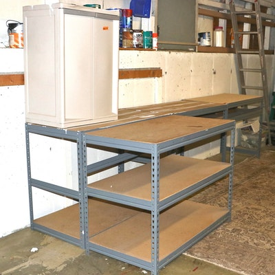 Steel Racking with Adjustable Shelving and Plastic Storage Unit
