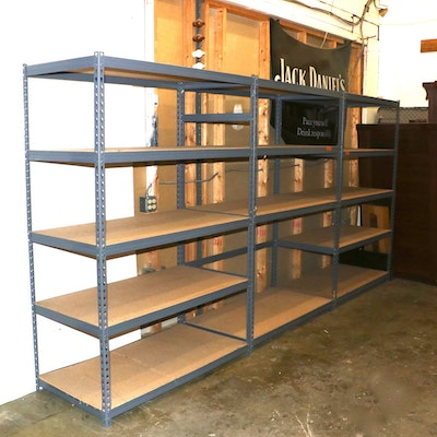 Three Adjustable Metal Shelving Units