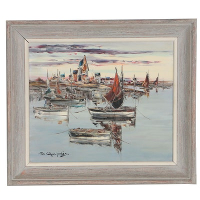 Christo Charpides Oil Painting of Harbor Scene