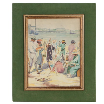 Alma Knauber 1922 Watercolor Sketch of Plein Air Artists at Shore