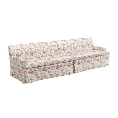 Floral-Upholstered Two-Section Sofa, Second Half 20th Century