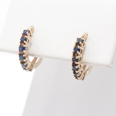 10K Yellow Gold Sapphire Hoop Earrings