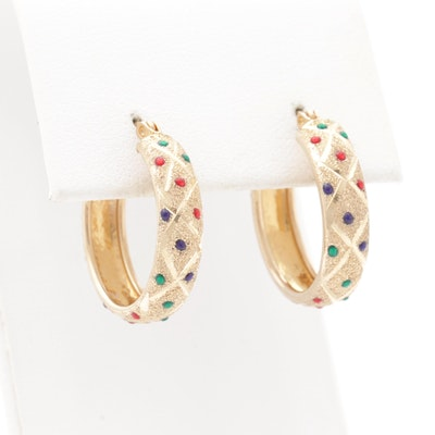 10K Yellow Gold Enamel Hoop Earrings