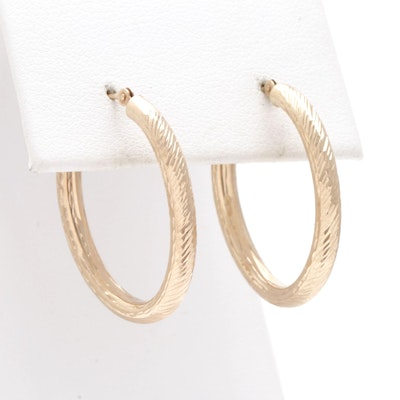 10K Yellow Gold Elongated Hoop Earrings