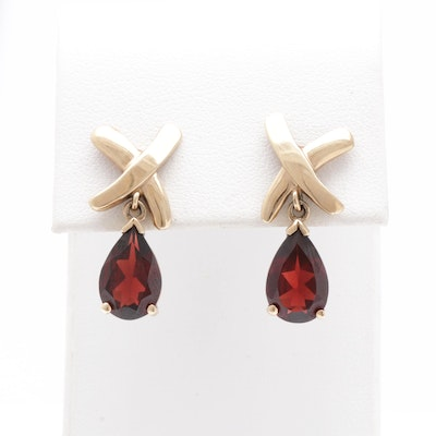 10K Yellow Gold Garnet Drop Earrings