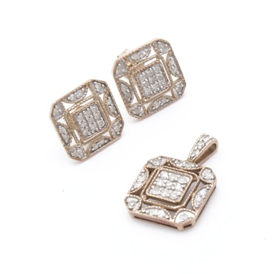 10K Yellow Gold Diamond Pendant and Earrings Set