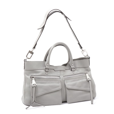 Aimee Kestenberg Grey Pebbled Leather Convertible Satchel