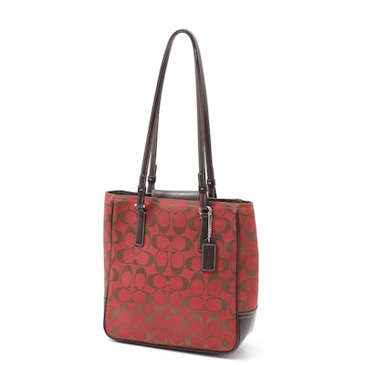 Coach Red Signature Canvas Mini Tote with Brown Leather Straps