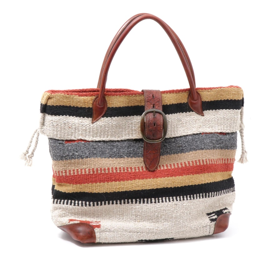 Two Bar West McFadin Navajo Inspired Wool Blanket and Leather Tote