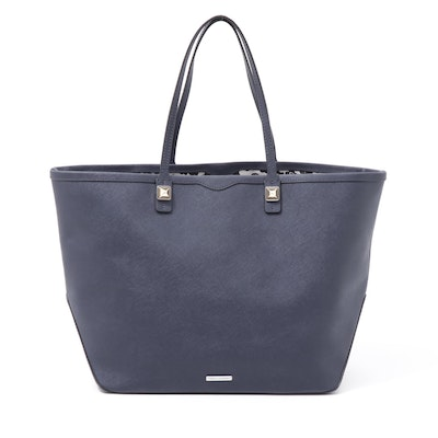 Rebecca Minkoff Navy Blue Crossgrain Leather Tote Bag