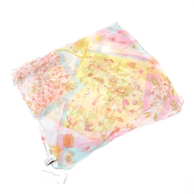 Salvatore Ferragamo Silk Patchwork Scarf with Floral Motif