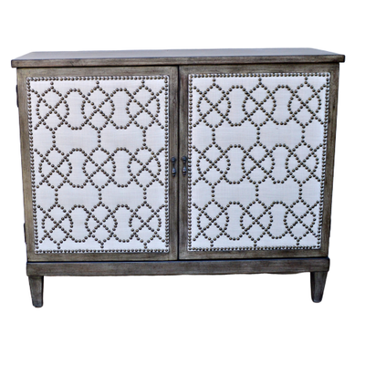 Hammary Linen and Nailhead Accented Cabinet, Contemporary