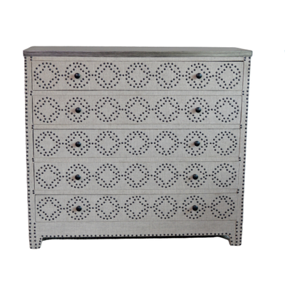 "Crestview Collection ""Springfield"" Linen Embellished Chest of Drawers"