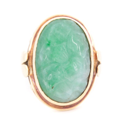 Vintage 14K Yellow Gold Carved Jadeite Ring
