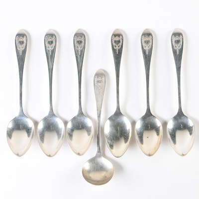 800 Silver Spoons with Empire Style Festoon and Torch Cartouche Motifs