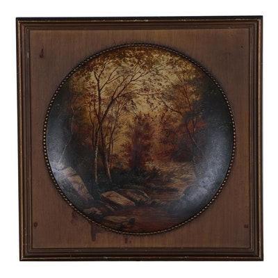 Late 19th Century Concave Landscape Oil Painting