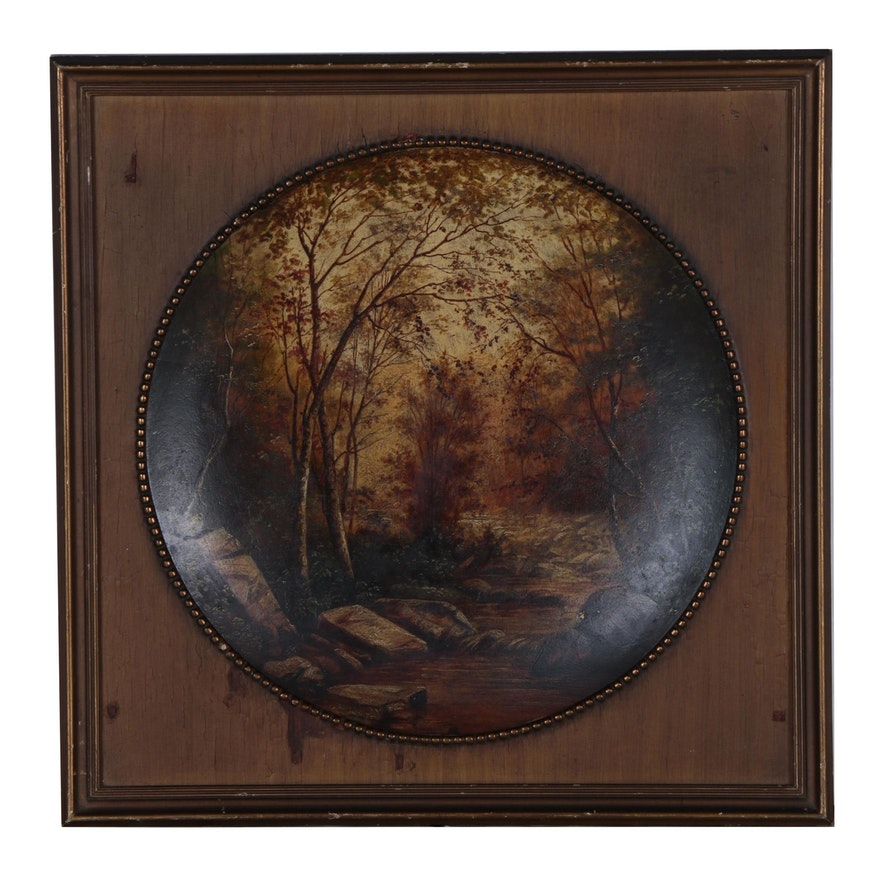 Late 19th Century Concave Landscape Oil Painting