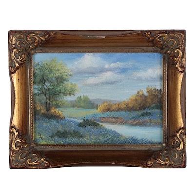 1978 Miniature Oil Painting of Texas Landscape