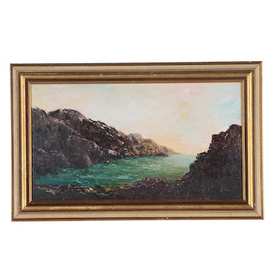 20th century Oil Painting of Rocky Coastal Landscape, Signed L. Gray