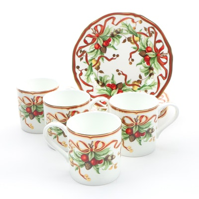 "Tiffany & Co. ""Tiffany Holiday"" Dessert Plates and Cups"