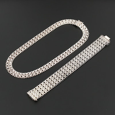 Milor Italian Sterling Silver Chain Link Bracelet and Necklace