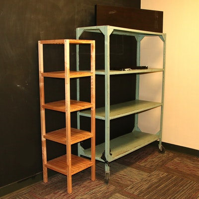 Metal Storage Shelf on Casters, Wooden Vertical Shelf & Wall Shelf