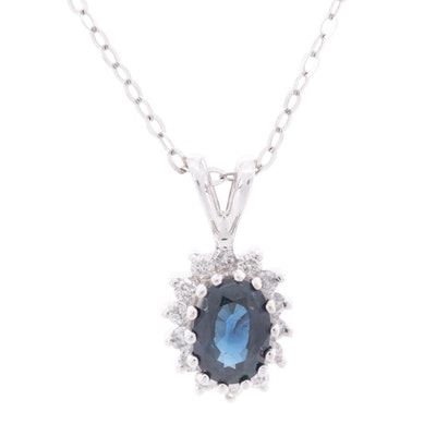 14K White Gold Sapphire and Diamond Pendant Necklace