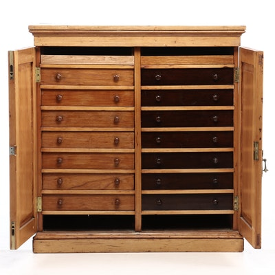 Victorian Pine Sixteen-Drawer Specimen Cabinet, Second Half 19th Century
