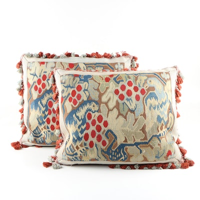 Pair of Bespoke Pillows From Antique Tapestry