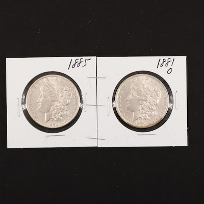 1881-O and 1885 Silver Morgan Dollars