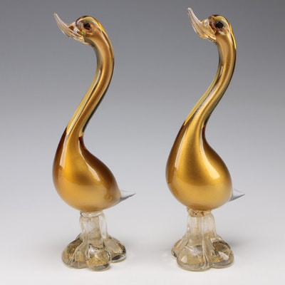 Pair of Gold Murano Art Glass Geese Figurines