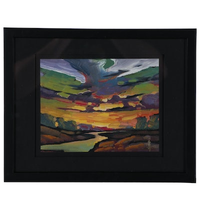 William Hawkins Sunset Landscape Oil Painting