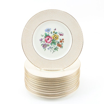 Cauldon Luncheon Plates with Floral Center and Gilt Trim, Early 20th Century