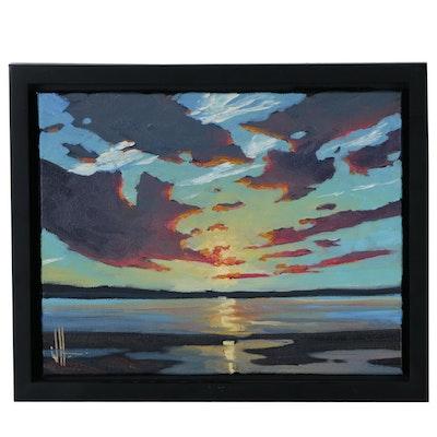 William Hawkins Landscape Oil Painting of Coastal Scene