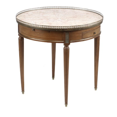 Louis XVI Style Brass-Mounted Walnut and Variegated Marble Center Table