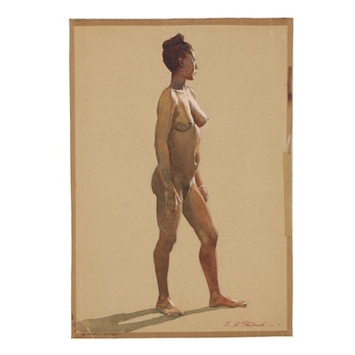 Edmond Fitzgerald Watercolor Figural Study of Nude Woman
