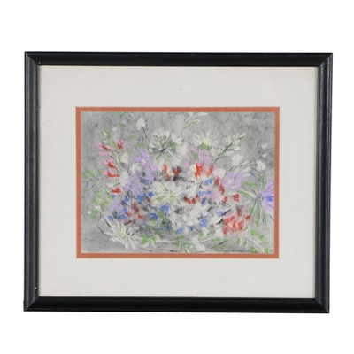 Mary McClintock Abstract Floral Pastel Drawing