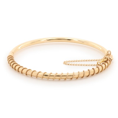 14K Yellow Gold Hinged Bangle Bracelet