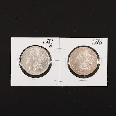1881-O and 1886 Silver Morgan Dollars