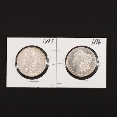 1885 and 1886 Silver Morgan Dollars