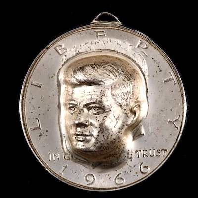 1966 JFK Half Dollar Kennedy Pop-Out Pendant