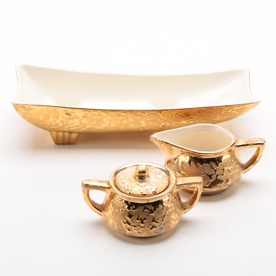 Stanford Pottery 24K Gilt Creamer, Sugar, and Console Bowl, 1945-1961