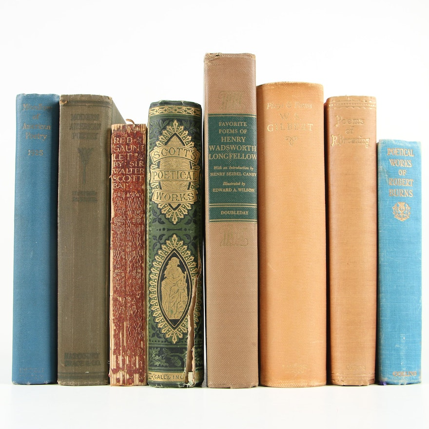 Poetry and Drama Books including Longfellow, Burns, and Browning