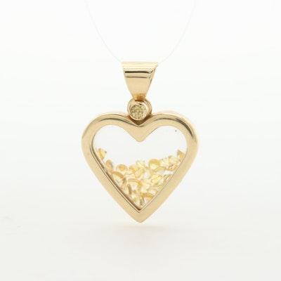 14K Yellow Gold Yellow Sapphire Filled Heart Locket Pendant