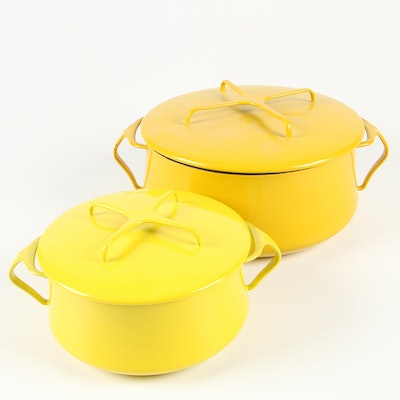 "Dansk ""Kobenstyle"" Sun Gold Yellow Enameled Covered Casserole Dishes"